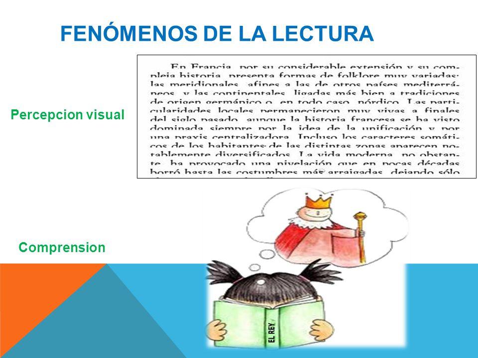 FENÓMENOS DE LA LECTURA Percepcion visual Comprension