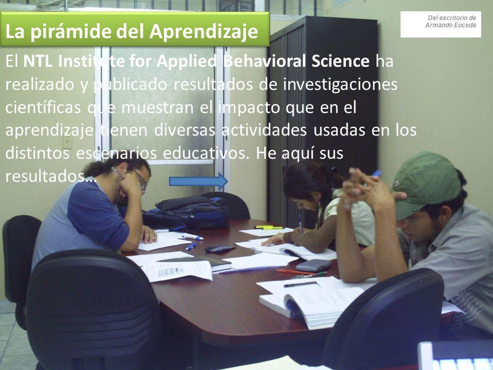 La pirámide del Aprendizaje El NTL Institute for Applied Behavioral Science ha realizado y publicado resultados de investigaciones científicas que muestran el impacto que en el aprendizaje tienen diversas actividades usadas en los distintos escenarios educativos.