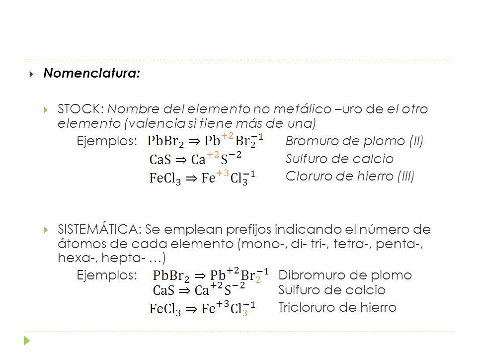 Nomenclatura: STOCK: Nombre del elemento no metálico –uro de el otro elemento (valencia si tiene más de una) Ejemplos: Bromuro de plomo (II) Sulfuro de calcio Cloruro de hierro (III) SISTEMÁTICA: Se emplean prefijos indicando el número de átomos de cada elemento (mono-, di- tri-, tetra-, penta-, hexa-, hepta- …) Ejemplos: Dibromuro de plomo Sulfuro de calcio Tricloruro de hierro