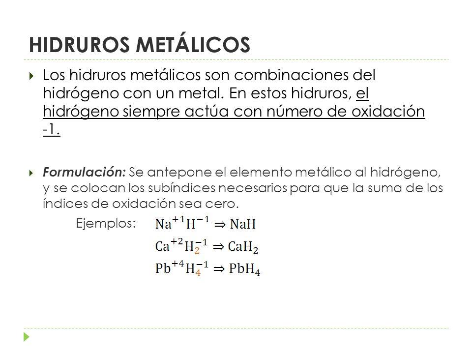 Nomenclatura: STOCK: Hidruro de nombre del elemento (valencia del elemento si tiene más de una, escrita en números romanos) Ejemplos: Hidruro de sodio Hidruro de calcio Hidruro de plomo(VI) SISTEMÁTICA: Se emplean prefijos indicando el número de átomos de cada elemento (mono-, di- tri-, tetra-, penta-, hexa-, hepta- …) Ejemplos: Hidruro de sodio Hidruro de calcio Tetrahidruro de plomo