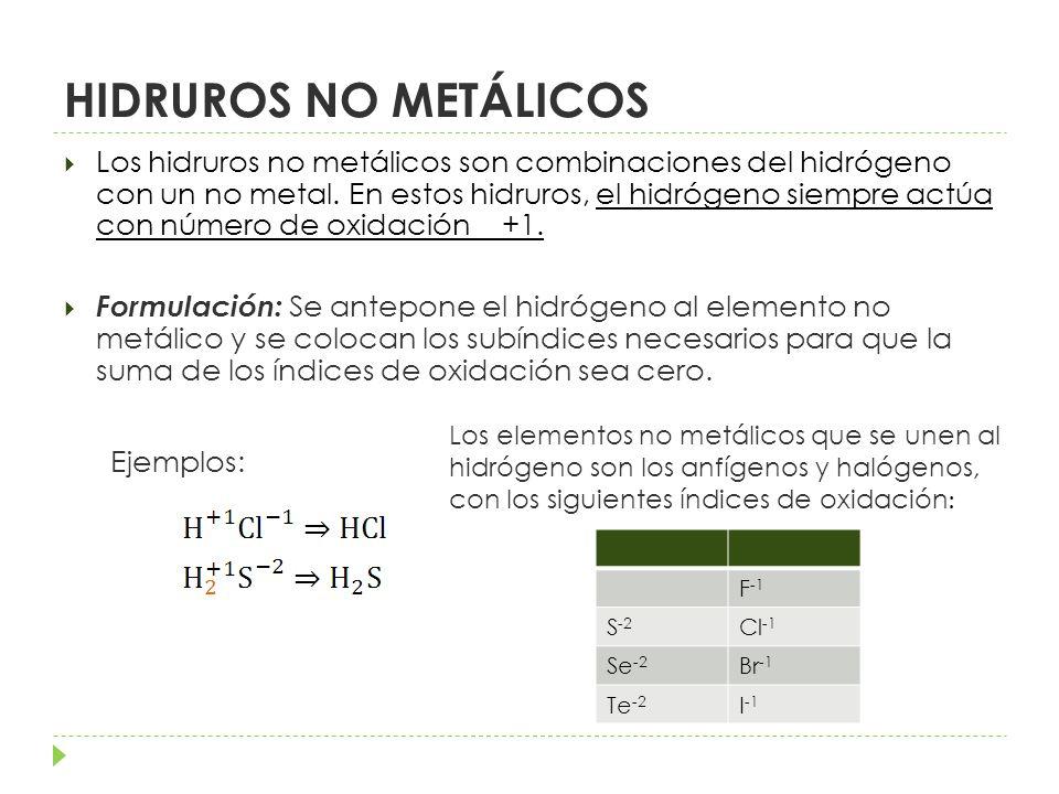Nomenclatura: STOCK: Nombre del elemento no metálico –uro de hidrógeno Ejemplos: Cloruro de hidrógeno Sulfuro de hidrógeno SISTEMÁTICA: Cuando el compuesto es acuoso y se indica (ac) Ácido nombre del elemento no metal -hídrico Ejemplos: Ácido clorhídrico Ácido sulfhídrico