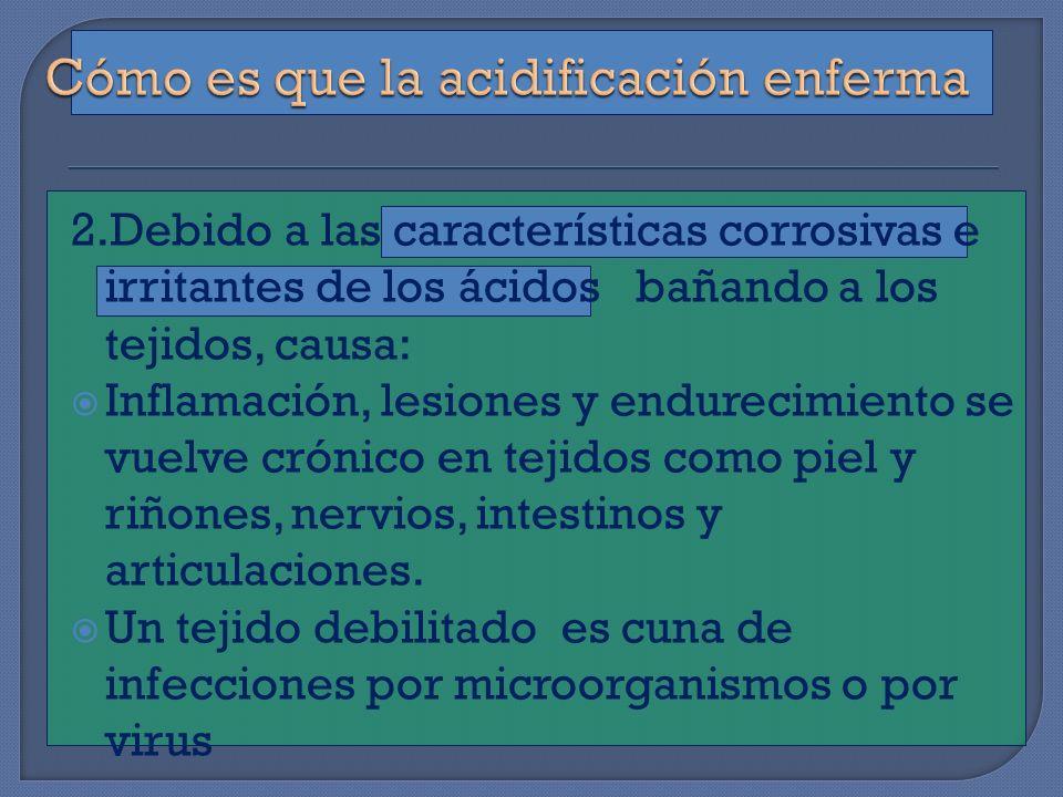 2.Debido a las características corrosivas e irritantes de los ácidos bañando a los tejidos, causa: Inflamación, lesiones y endurecimiento se vuelve cr