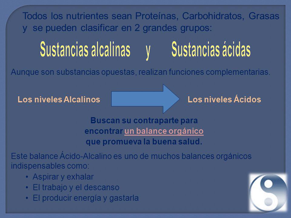 Todos los nutrientes sean Proteínas, Carbohidratos, Grasas y se pueden clasificar en 2 grandes grupos: Aunque son substancias opuestas, realizan funciones complementarias.
