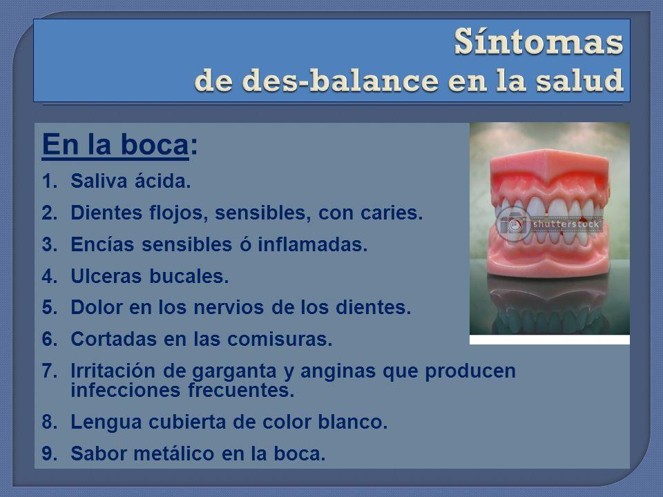 En la boca: 1.Saliva ácida. 2.Dientes flojos, sensibles, con caries. 3.Encías sensibles ó inflamadas. 4.Ulceras bucales. 5.Dolor en los nervios de los