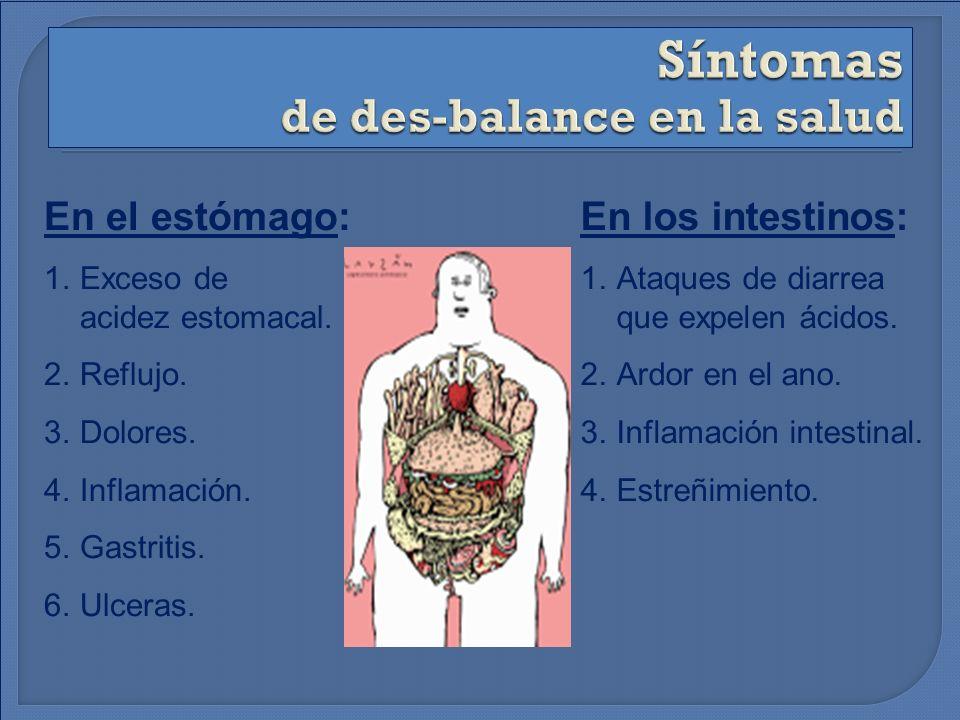 En el estómago: 1.Exceso de acidez estomacal. 2.Reflujo. 3.Dolores. 4.Inflamación. 5.Gastritis. 6.Ulceras. En los intestinos: 1.Ataques de diarrea que