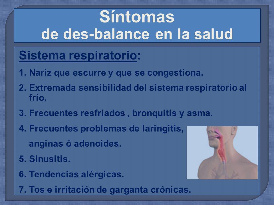 Síntomas de des-balance en la salud Sistema respiratorio: 1.Nariz que escurre y que se congestiona. 2.Extremada sensibilidad del sistema respiratorio