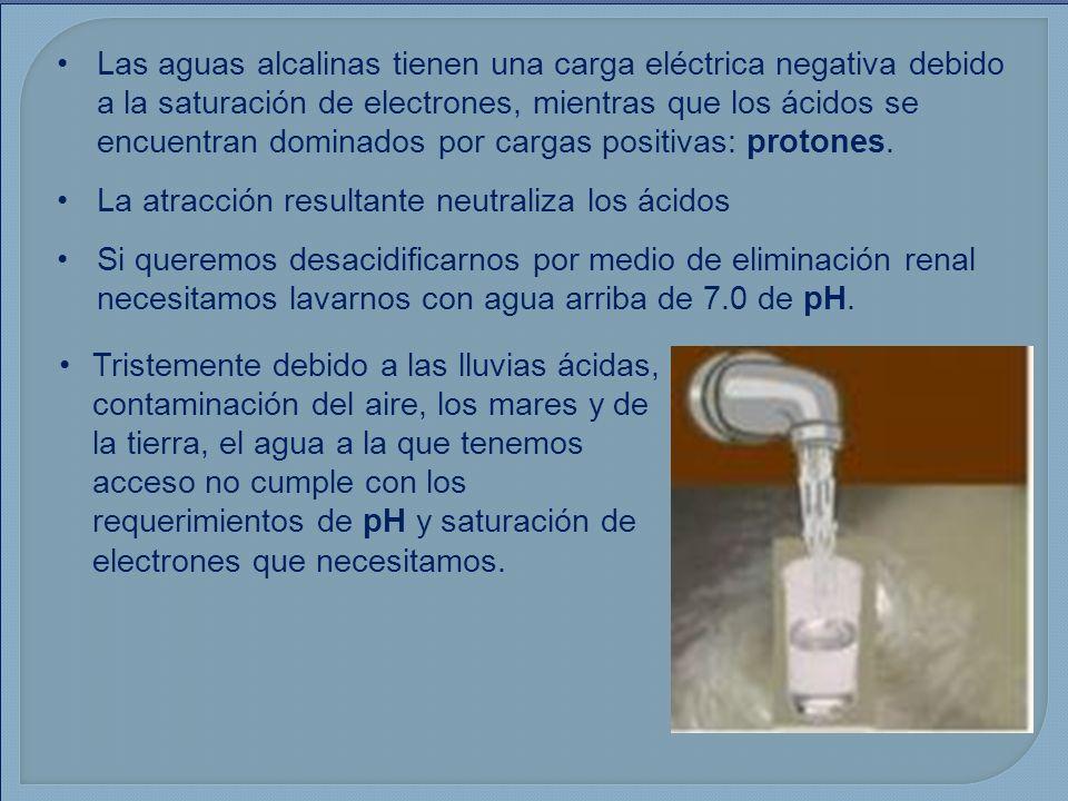 Las aguas alcalinas tienen una carga eléctrica negativa debido a la saturación de electrones, mientras que los ácidos se encuentran dominados por cargas positivas: protones.