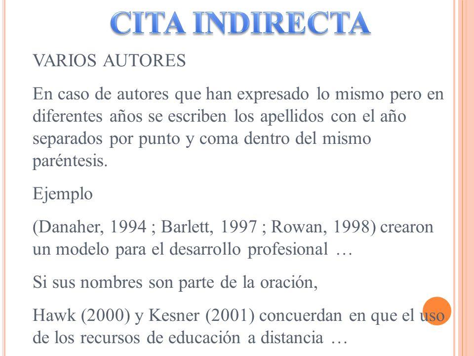 VARIOS AUTORES En caso de autores que han expresado lo mismo pero en diferentes años se escriben los apellidos con el año separados por punto y coma d