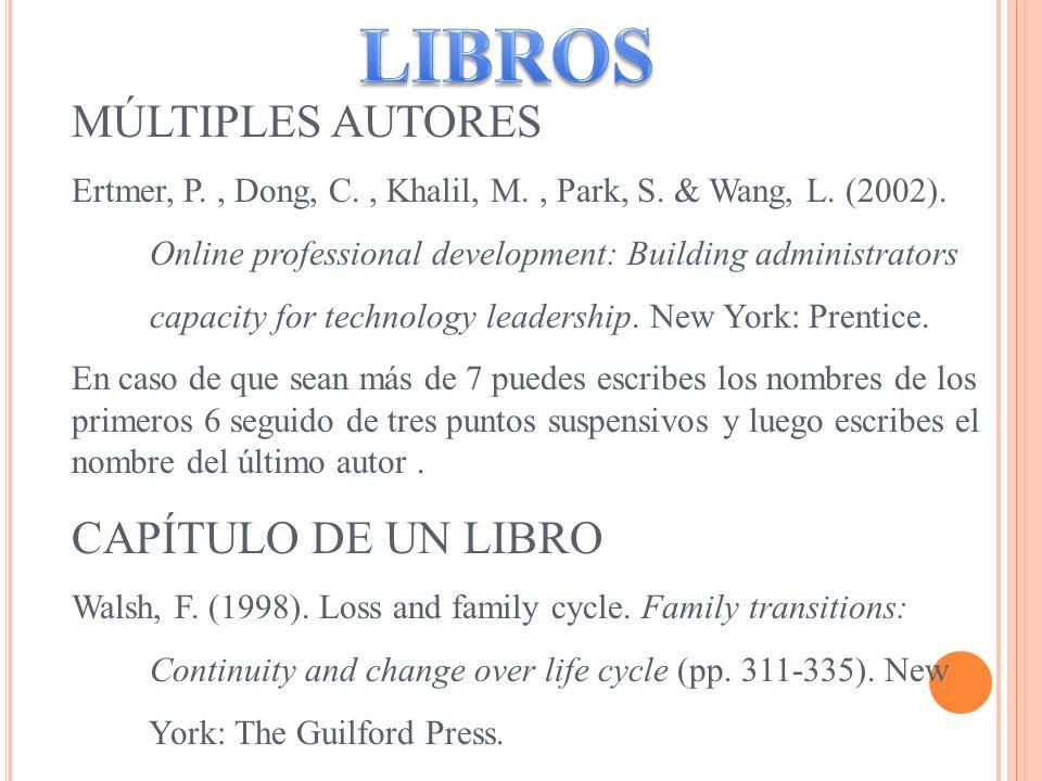 MÚLTIPLES AUTORES Ertmer, P., Dong, C., Khalil, M., Park, S. & Wang, L. (2002). Online professional development: Building administrators capacity for