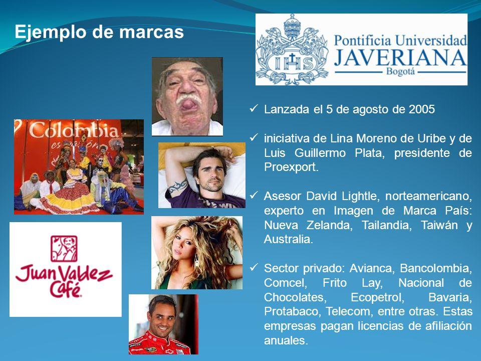 Ejemplo de marcas Lanzada el 5 de agosto de 2005 iniciativa de Lina Moreno de Uribe y de Luis Guillermo Plata, presidente de Proexport. Asesor David L