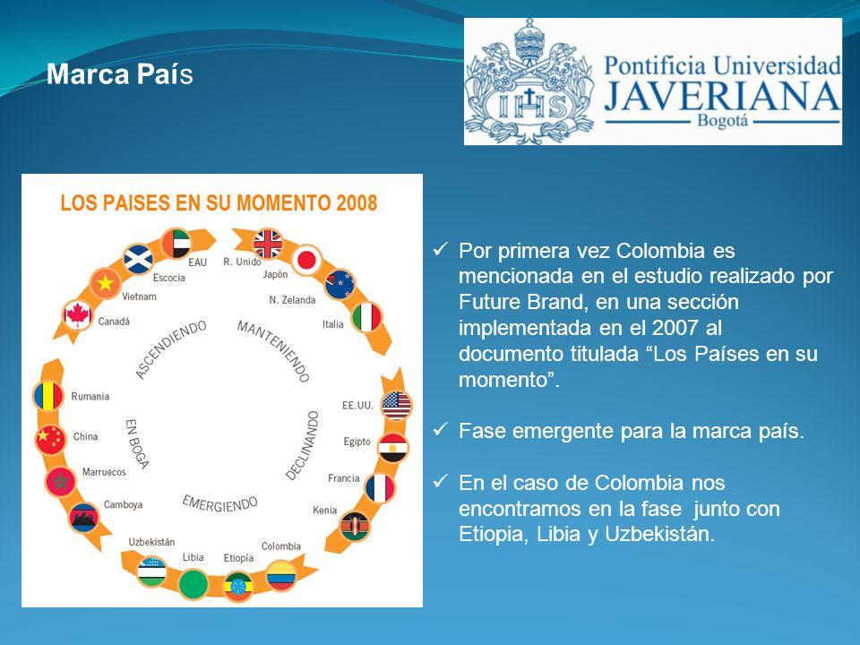 Por primera vez Colombia es mencionada en el estudio realizado por Future Brand, en una sección implementada en el 2007 al documento titulada Los País