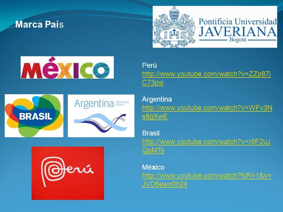 Marca País Perú http://www.youtube.com/watch?v=ZZp87j C73pw Argentina http://www.youtube.com/watch?v=WFv3N s8gXwE Brasil http://www.youtube.com/watch?