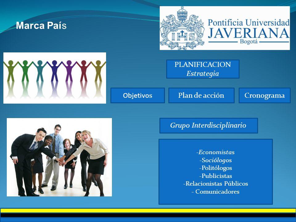 PLANIFICACION Estrategia Plan de acción Objetivos Cronograma Grupo Interdisciplinario -Economistas -Sociólogos -Politólogos -Publicistas -Relacionista