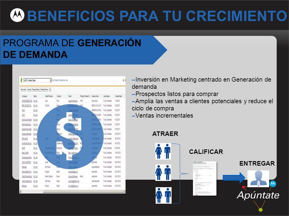 10 PROGRAMA DE GENERACIÓN DE DEMANDA –Inversión en Marketing centrado en Generación de demanda –Prospectos listos para comprar –Amplia las ventas a cl
