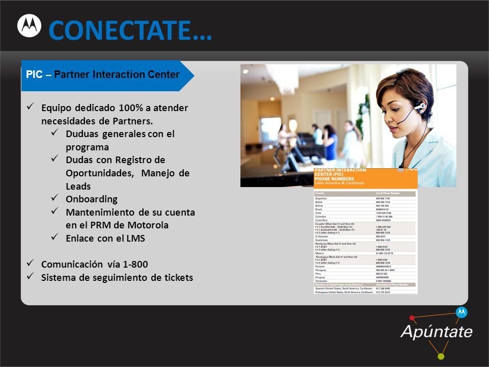 CONECTATE… PIC – Partner Interaction Center Equipo dedicado 100% a atender necesidades de Partners.