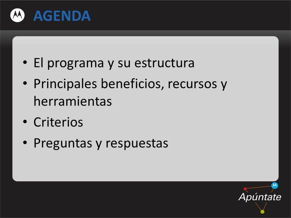 AGENDA El programa y su estructura Principales beneficios, recursos y herramientas Criterios Preguntas y respuestas