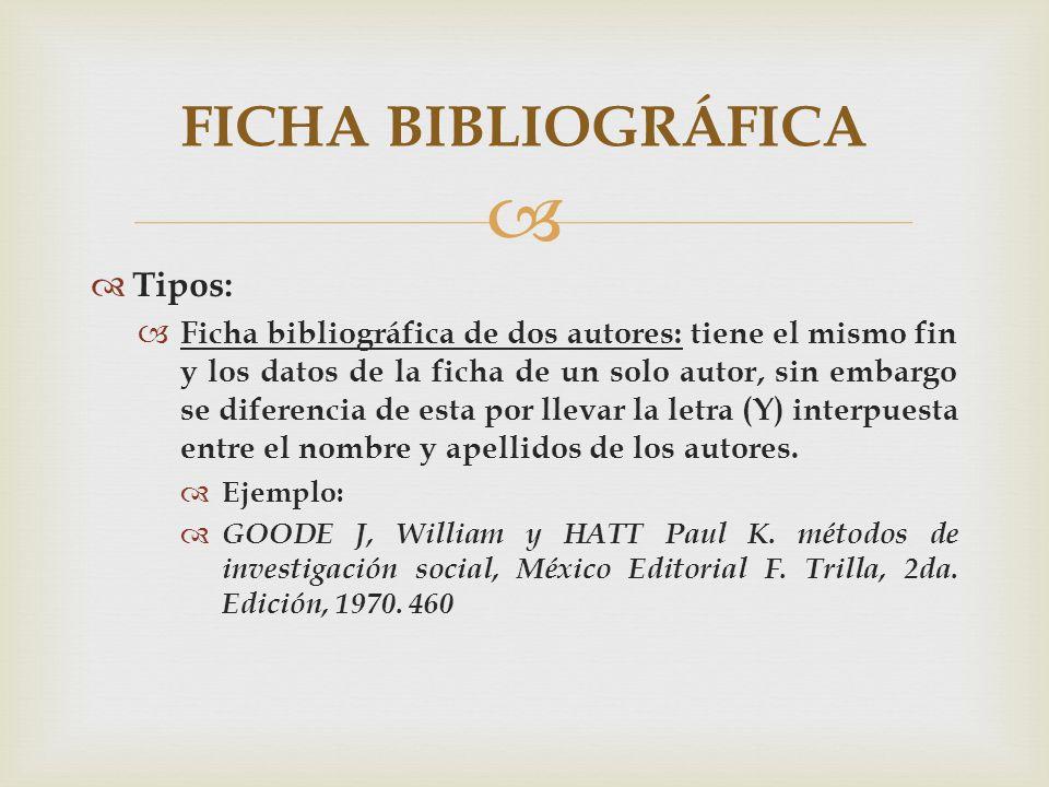 Tipos: Ficha bibliográfica de dos autores: tiene el mismo fin y los datos de la ficha de un solo autor, sin embargo se diferencia de esta por llevar l