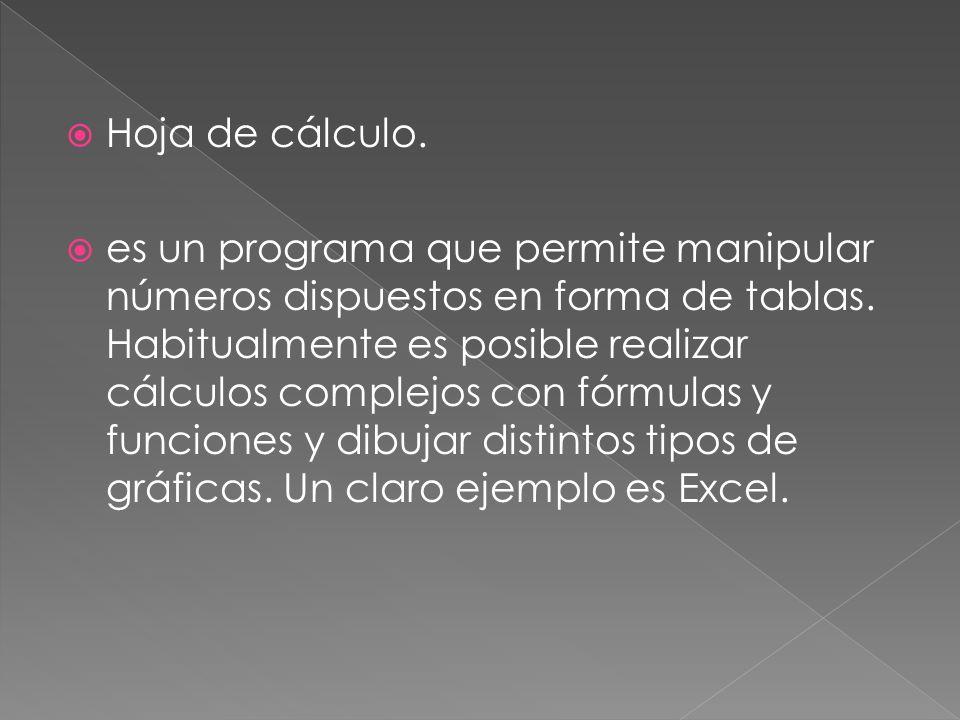 Hoja de cálculo. es un programa que permite manipular números dispuestos en forma de tablas.