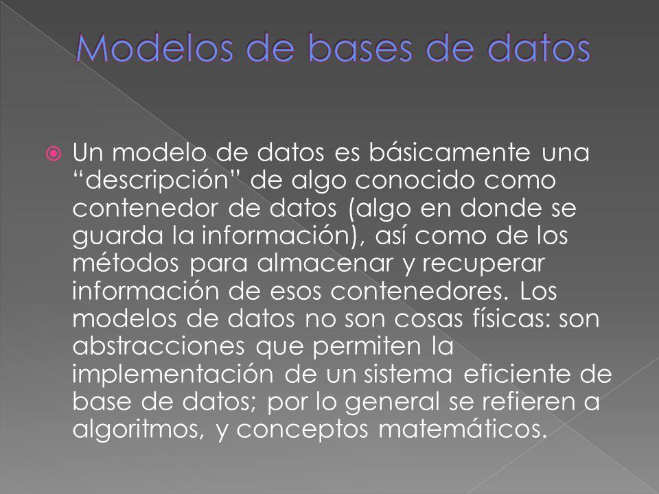 Un modelo de datos es básicamente una descripción de algo conocido como contenedor de datos (algo en donde se guarda la información), así como de los métodos para almacenar y recuperar información de esos contenedores.