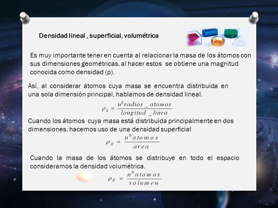 Densidad lineal, superficial, volumétrica Es muy importante tener en cuenta al relacionar la masa de los átomos con sus dimensiones geométricas, al hacer estos se obtiene una magnitud conocida como densidad ( ρ ).