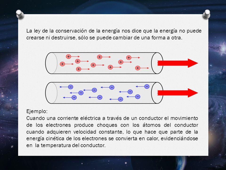 Ejemplo: Cuando una corriente eléctrica a través de un conductor el movimiento de los electrones produce choques con los átomos del conductor cuando adquieren velocidad constante, lo que hace que parte de la energía cinética de los electrones se convierta en calor, evidenciándose en la temperatura del conductor.