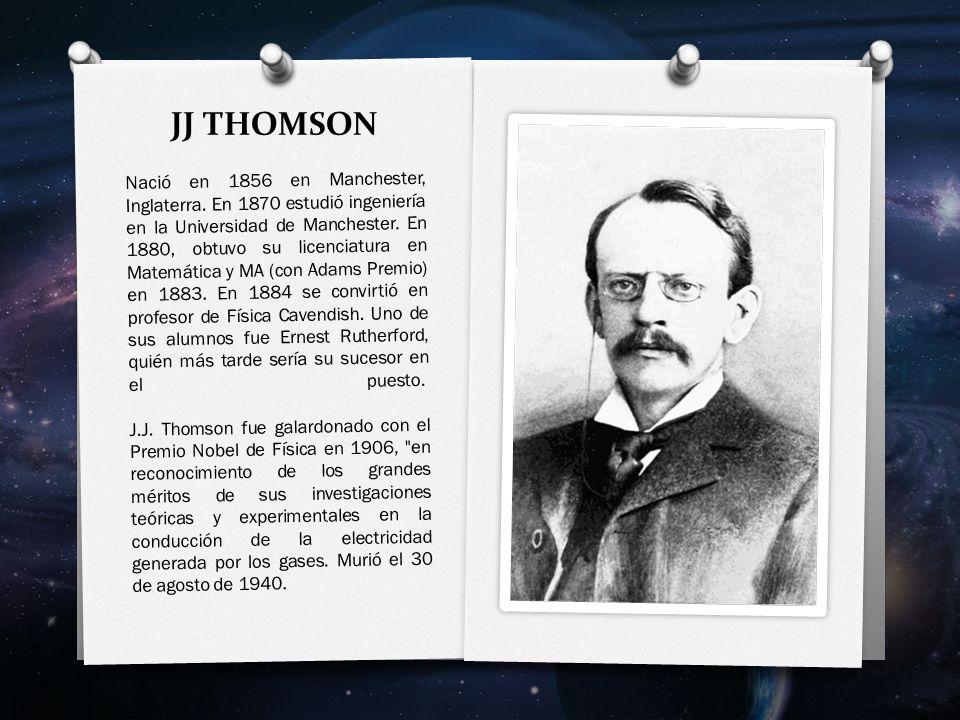 JJ THOMSON Nació en 1856 en Manchester, Inglaterra.