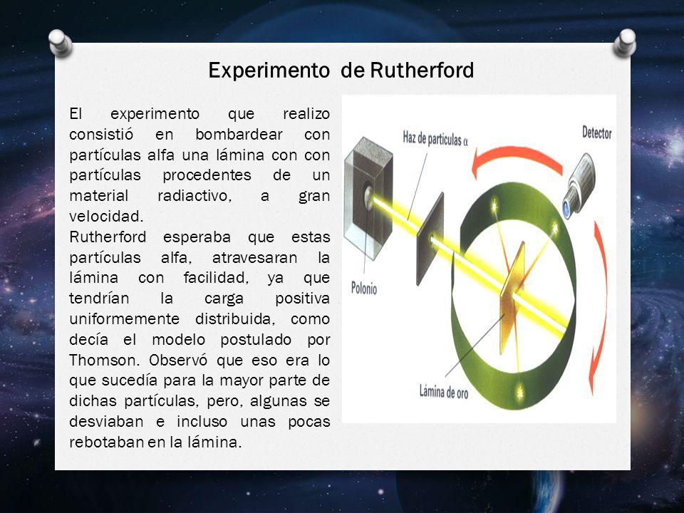El experimento que realizo consistió en bombardear con partículas alfa una lámina con con partículas procedentes de un material radiactivo, a gran velocidad.