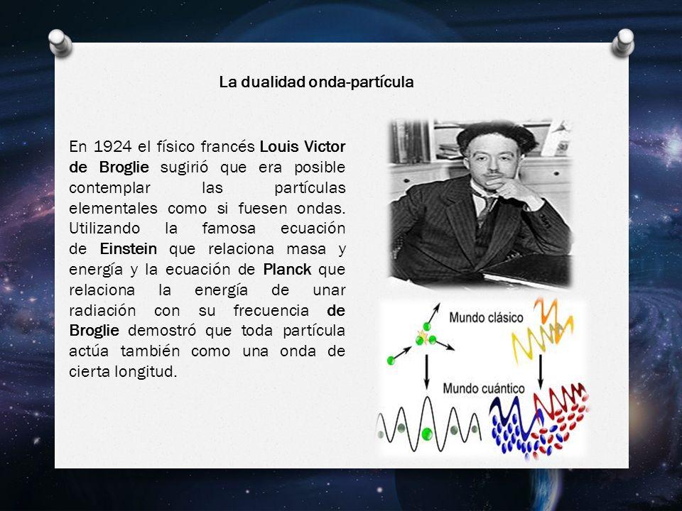 En 1924 el físico francés Louis Victor de Broglie sugirió que era posible contemplar las partículas elementales como si fuesen ondas.