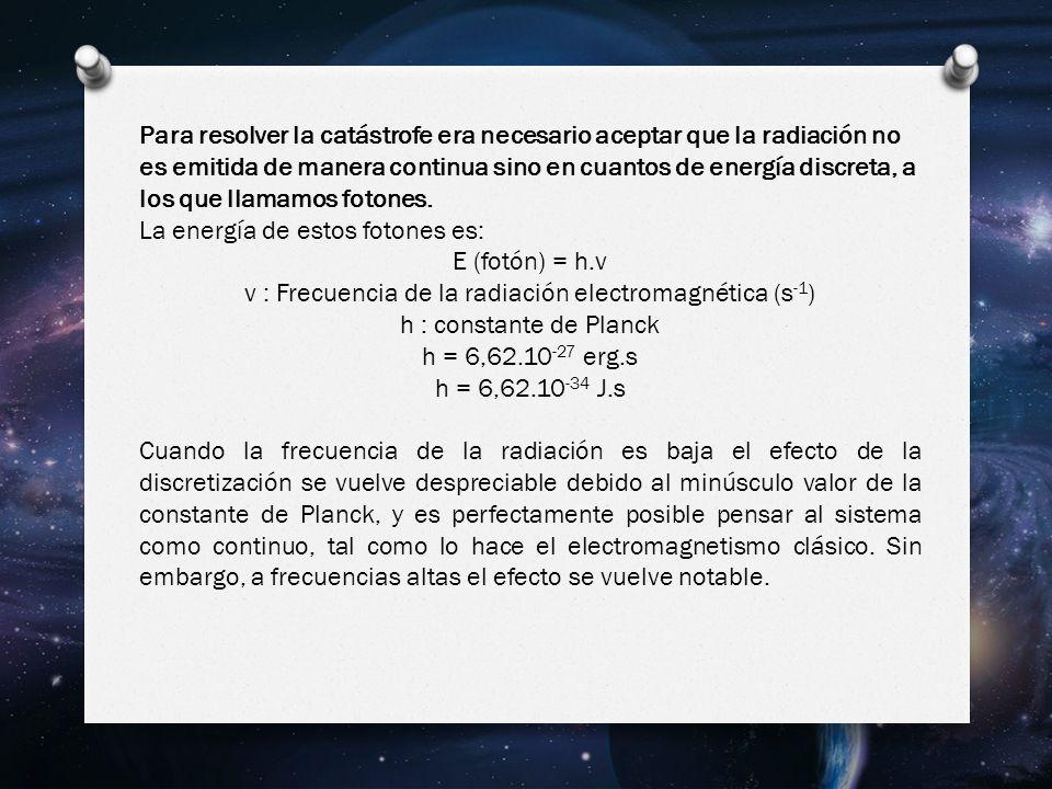 Para resolver la catástrofe era necesario aceptar que la radiación no es emitida de manera continua sino en cuantos de energía discreta, a los que llamamos fotones.
