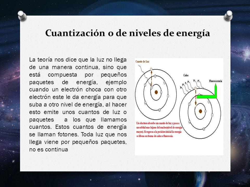 Cuantización o de niveles de energía La teoría nos dice que la luz no llega de una manera continua, sino que está compuesta por pequeños paquetes de energía, ejemplo cuando un electrón choca con otro electrón este le da energía para que suba a otro nivel de energía, al hacer esto emite unos cuantos de luz o paquetes a los que llamamos cuantos.