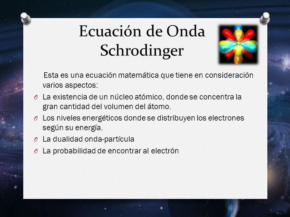 Ecuación de Onda Schrodinger Esta es una ecuación matemática que tiene en consideración varios aspectos: O La existencia de un núcleo atómico, donde se concentra la gran cantidad del volumen del átomo.