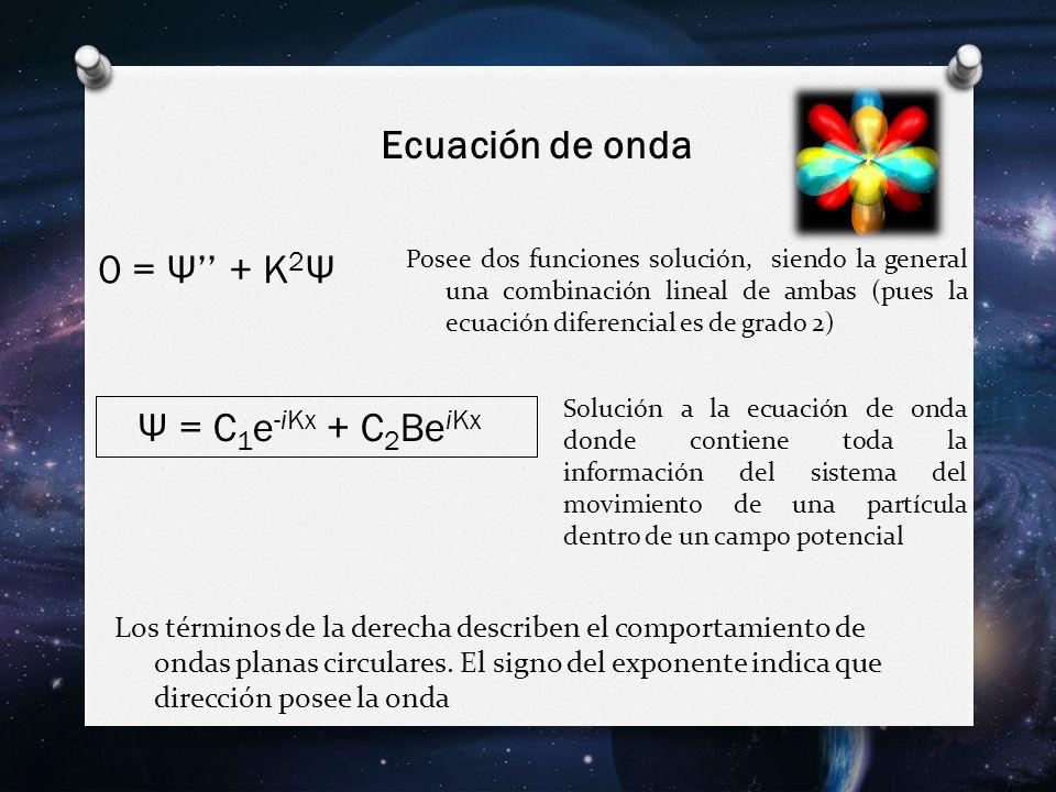 Ψ = C 1 e -iKx + C 2 Be iKx Los términos de la derecha describen el comportamiento de ondas planas circulares.