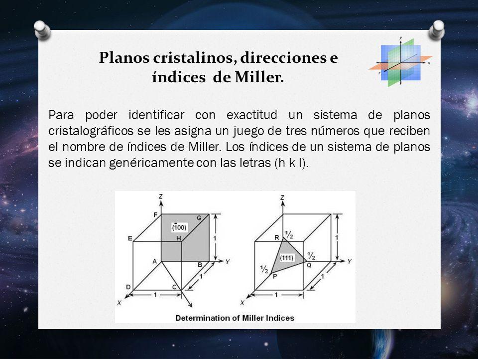 Planos cristalinos, direcciones e índices de Miller.