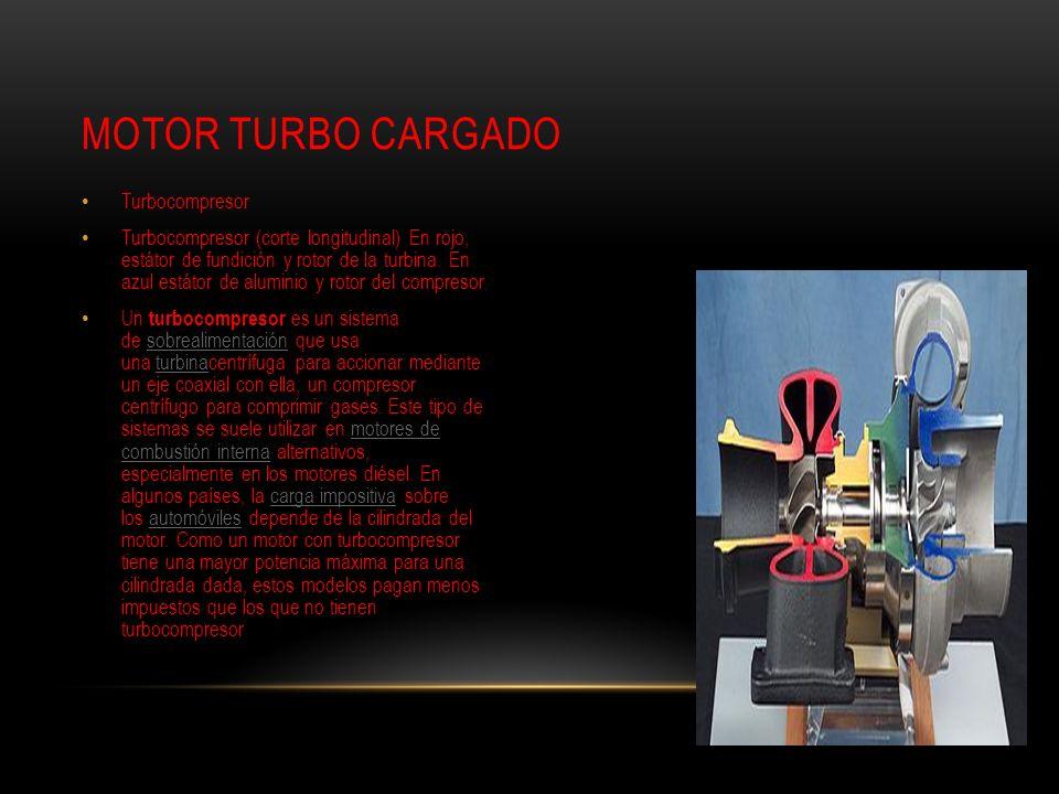 Turbocompresor Turbocompresor (corte longitudinal) En rojo, estátor de fundición y rotor de la turbina. En azul estátor de aluminio y rotor del compre