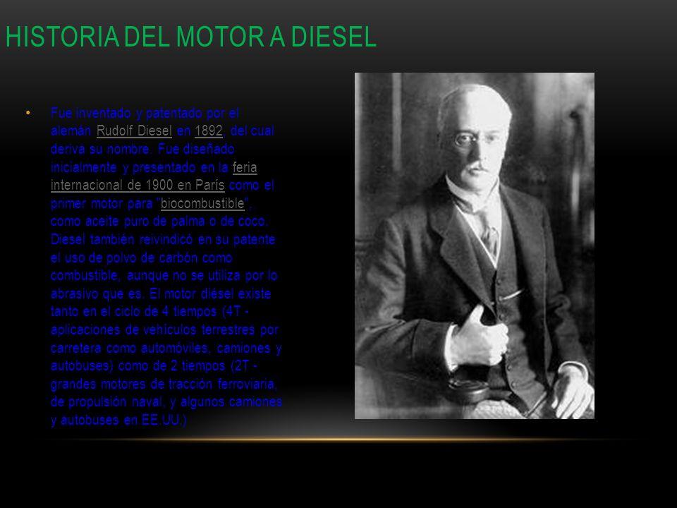 Fue inventado y patentado por el alemán Rudolf Diesel en 1892, del cual deriva su nombre. Fue diseñado inicialmente y presentado en la feria internaci