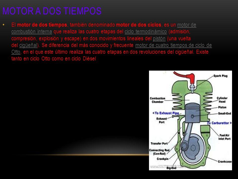 El motor de dos tiempos, también denominado motor de dos ciclos, es un motor de combustión interna que realiza las cuatro etapas del ciclo termodinámi