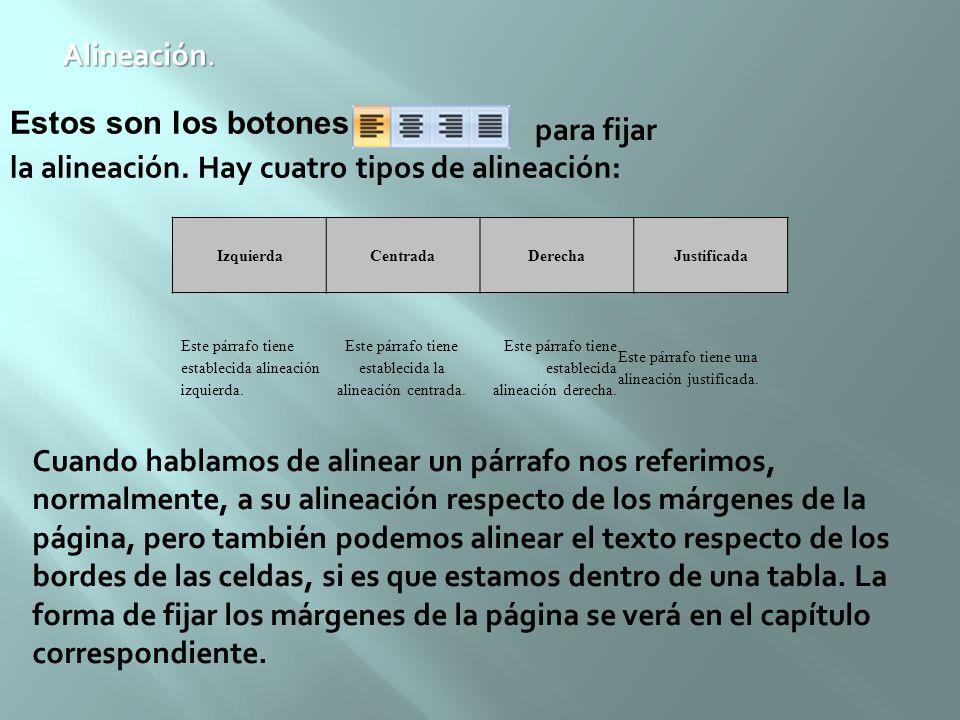 Alineación. Estos son los botones la alineación. Hay cuatro tipos de alineación: para fijar IzquierdaCentradaDerechaJustificada Este párrafo tiene est