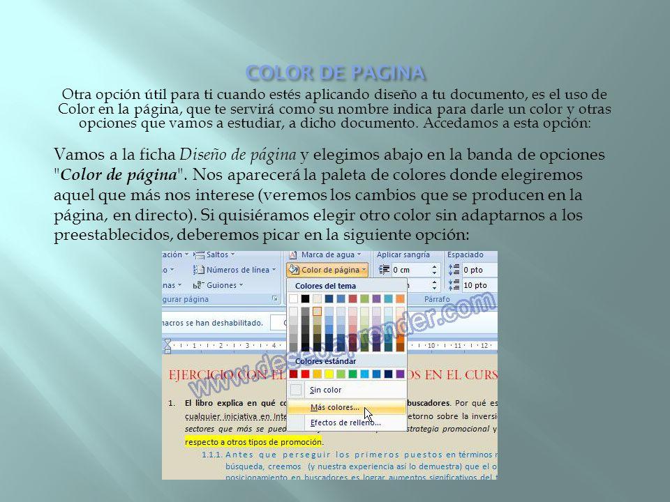 Otra opción útil para ti cuando estés aplicando diseño a tu documento, es el uso de Color en la página, que te servirá como su nombre indica para darl