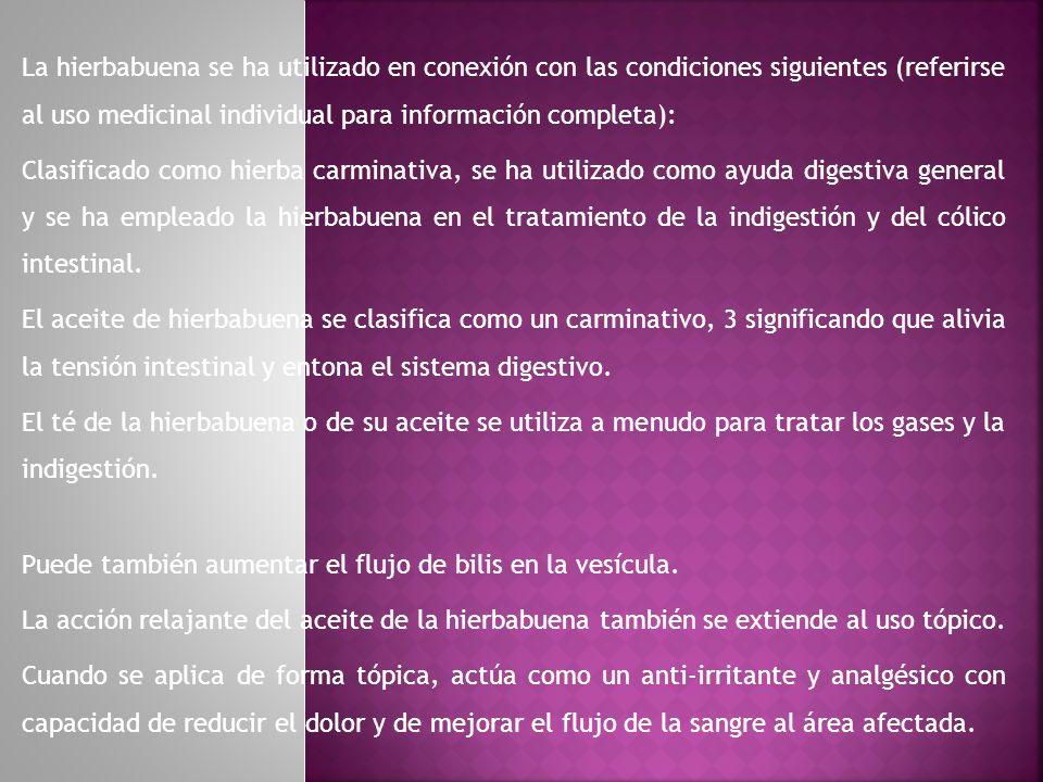 La hierbabuena se ha utilizado en conexión con las condiciones siguientes (referirse al uso medicinal individual para información completa): Clasifica
