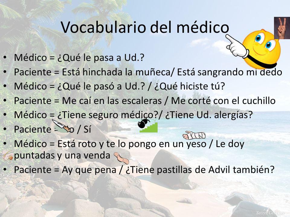 Vocabulario del médico Médico = ¿Qué le pasa a Ud.? Paciente = Está hinchada la muñeca/ Está sangrando mi dedo Médico = ¿Qué le pasó a Ud.? / ¿Qué hic