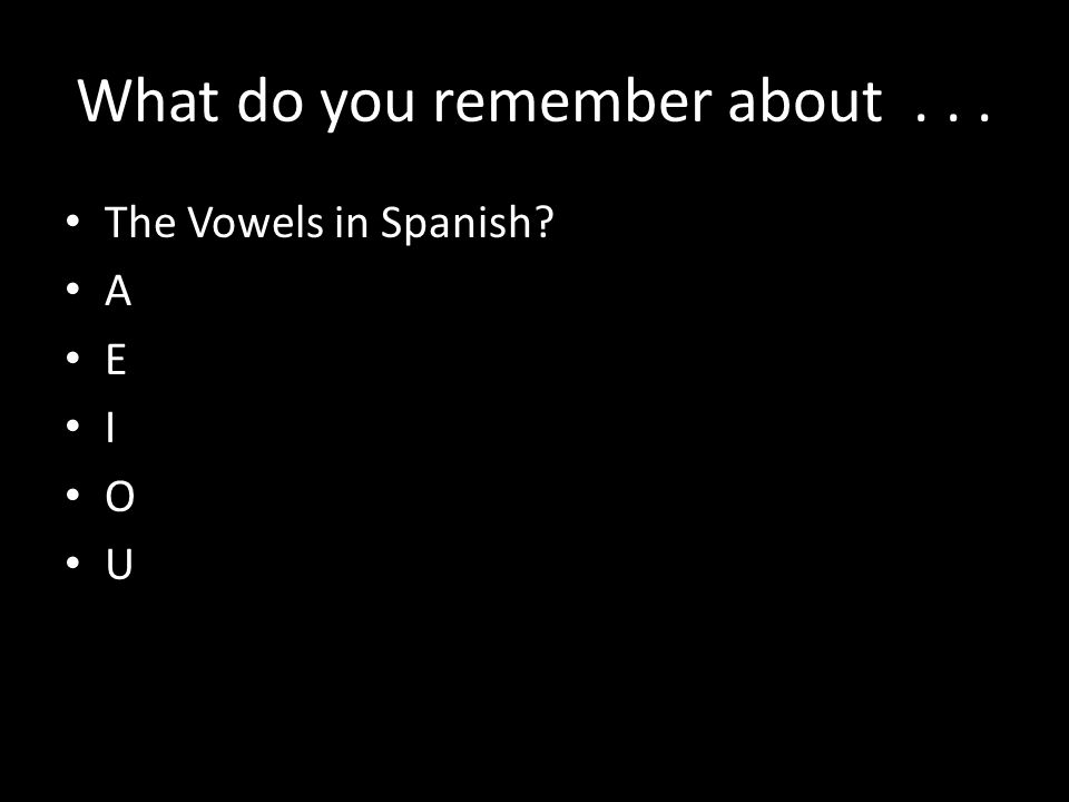 What do you remember about... The Vowels in Spanish A E I O U