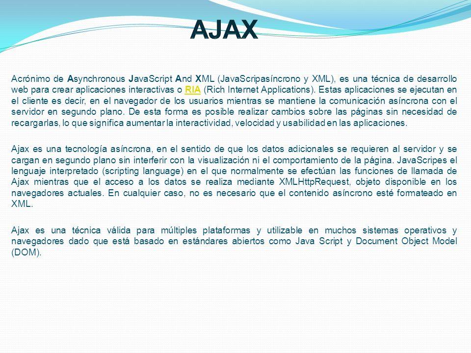 Acrónimo de Asynchronous JavaScript And XML (JavaScripasíncrono y XML), es una técnica de desarrollo web para crear aplicaciones interactivas o RIA (R