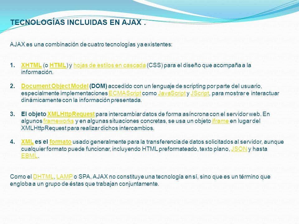 TECNOLOGÍAS INCLUIDAS EN AJAX. AJAX es una combinación de cuatro tecnologías ya existentes: 1.XHTML (o HTML) y hojas de estilos en cascada (CSS) para