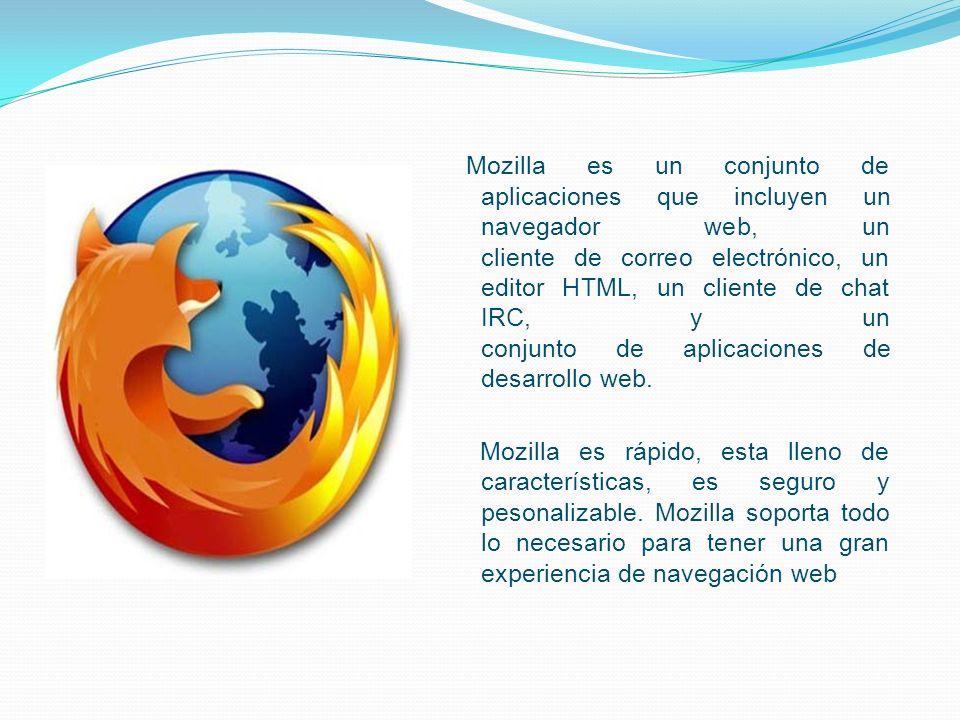 Mozilla es un conjunto de aplicaciones que incluyen un navegador web, un cliente de correo electrónico, un editor HTML, un cliente de chat IRC, y un c