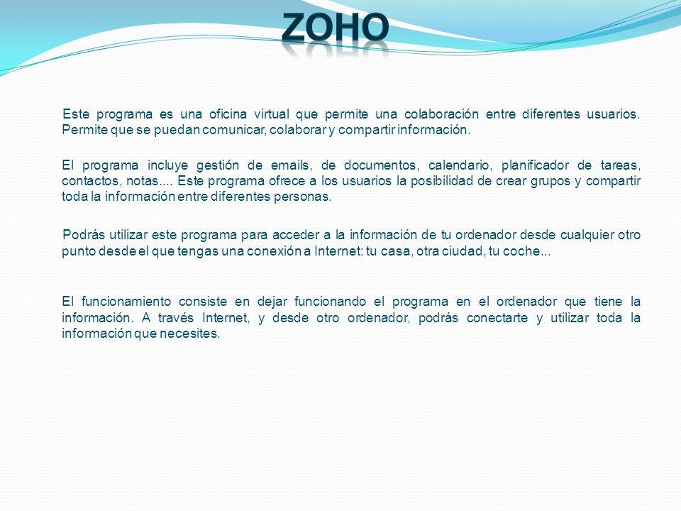 Zoho clasifica sus aplicaciones en 2 grupos, de acuerdo a sus características: OFFICE SUITE y UTILITIES.