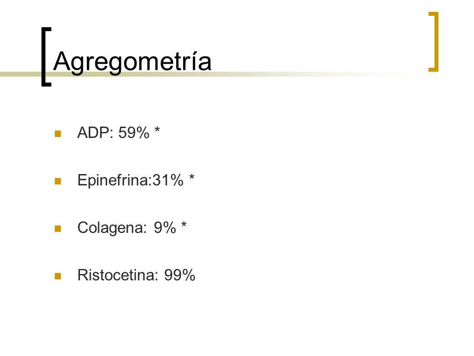 Agregometría ADP: 59% * Epinefrina:31% * Colagena: 9% * Ristocetina: 99%