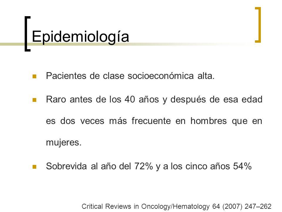 Epidemiología Pacientes de clase socioeconómica alta. Raro antes de los 40 años y después de esa edad es dos veces más frecuente en hombres que en muj
