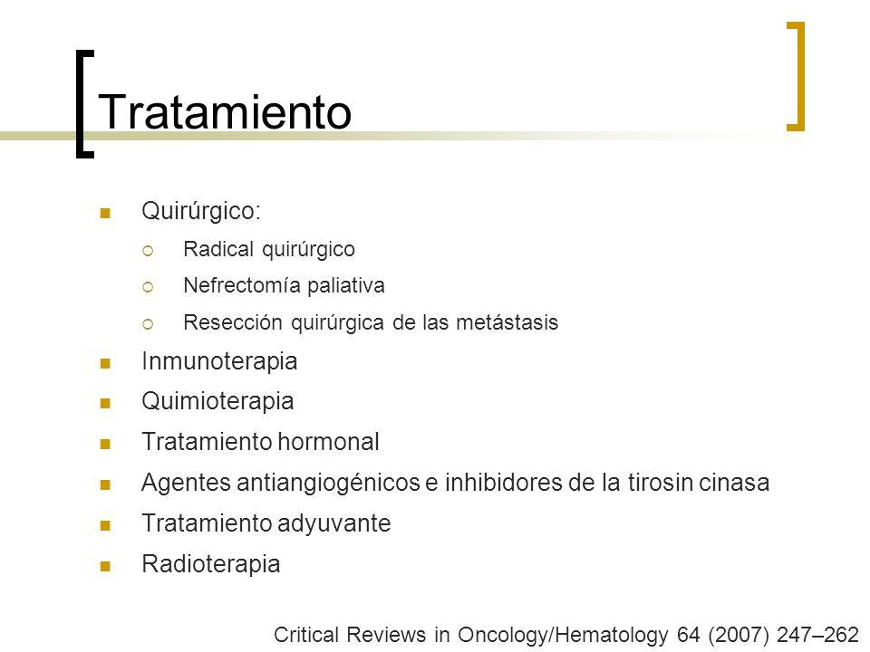 Tratamiento Quirúrgico: Radical quirúrgico Nefrectomía paliativa Resección quirúrgica de las metástasis Inmunoterapia Quimioterapia Tratamiento hormon