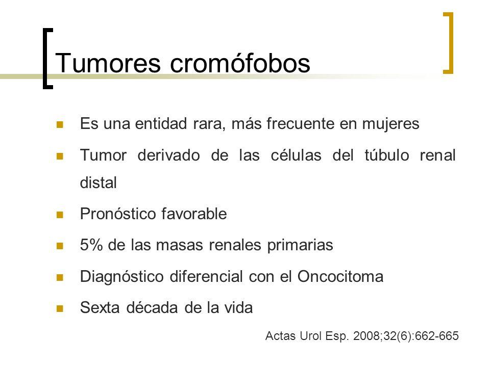 Tumores cromófobos Es una entidad rara, más frecuente en mujeres Tumor derivado de las células del túbulo renal distal Pronóstico favorable 5% de las