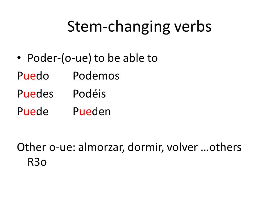 Stem-changing verbs Servir-(e-i) to serve SirvoServimos SirvesServís SirveSirven Other e-i: pedir…other R30